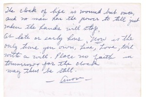 The Clock of Life Poem in the hand of Florrie Thomas Martin cropped
