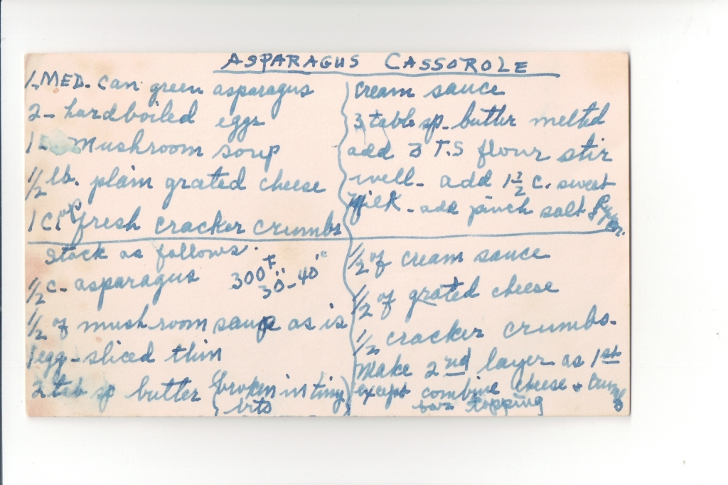Asparagus Casserole recipe by Florrie Thomas Martin, in her hand