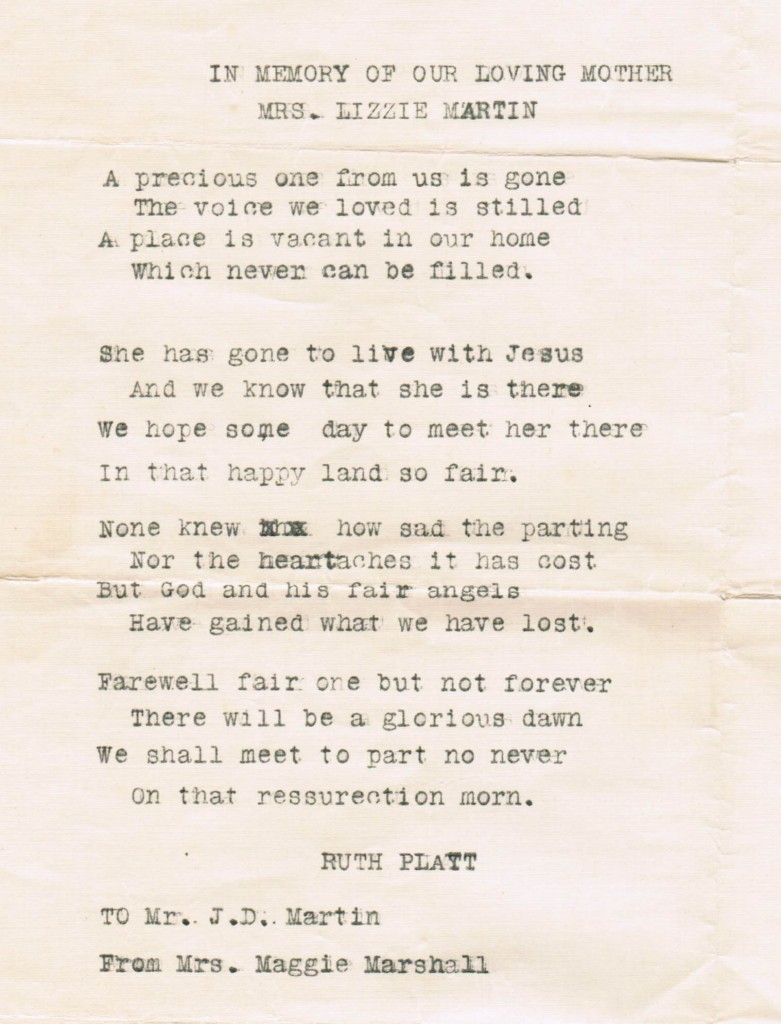 Poem sent to JD Martin from sister Maggie when their mother died cropped