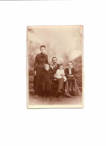 Alonzo Pyles with wife and 3 oldest children circa 1894