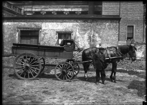 Late 1800s wagon and driver