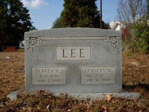 LEE Green H and Frances M gravestone at Old Macedonia
