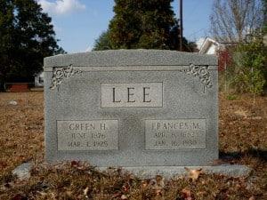LEE Green H and Frances M gravestone at Old Macedonia