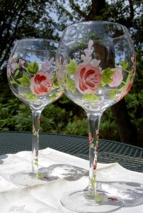 Wine glasses with flowers on them