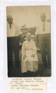 Siblings Jeremiah Daniel Thomas, Sarah Ann Rebecca Thomas Grant, James Renatus Thomas 12Aug1933 in SC