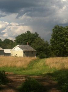 color photo of a white farm house with two outbuildings surrounded by a hayfield, a grassy drive, trees and a cloudy sky.