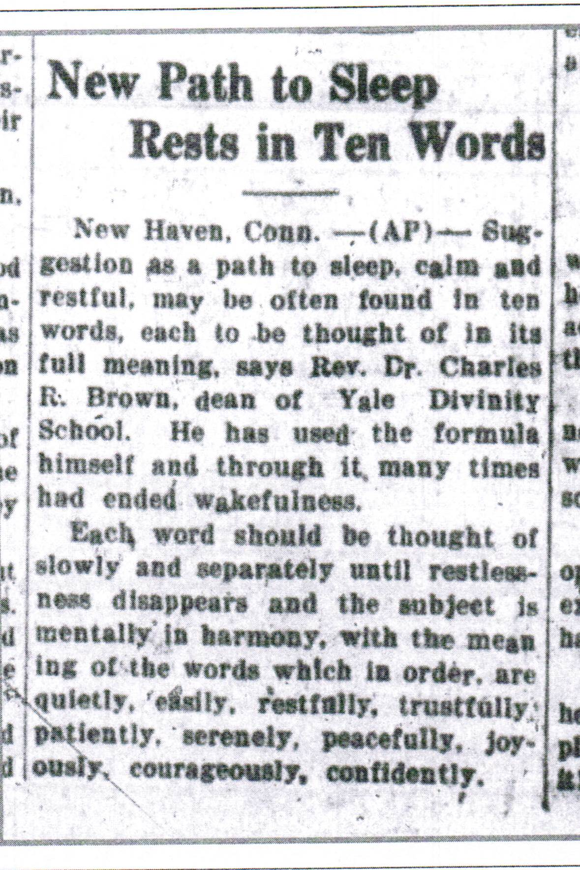 Scan of the article entitled New Paths to Sleep Rests in Ten Words