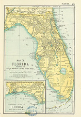 map of Florida with Florida in yellow and the surrounding water in two shades of blue.