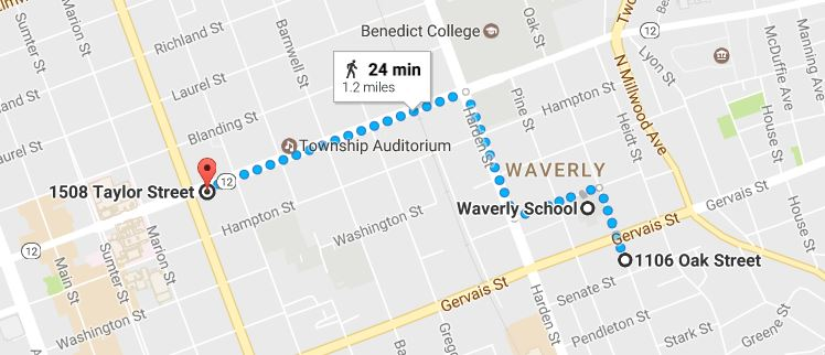 A googlemap showing the walking route from 1106 Oak Street to 1508 Taylor Street by way of the Waverly school