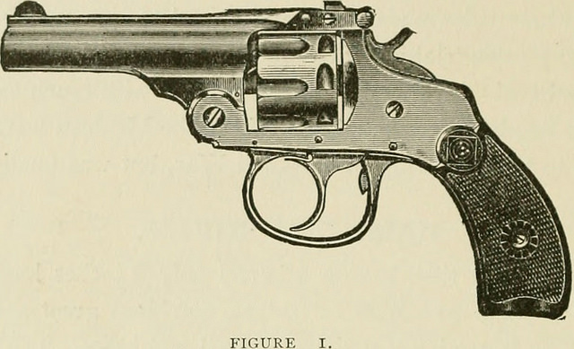 Black and white photo of a 1904 .32 revolver