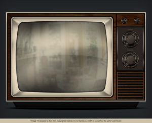photo of a B&W TV with a faux wood case and knobs to control channel and sound