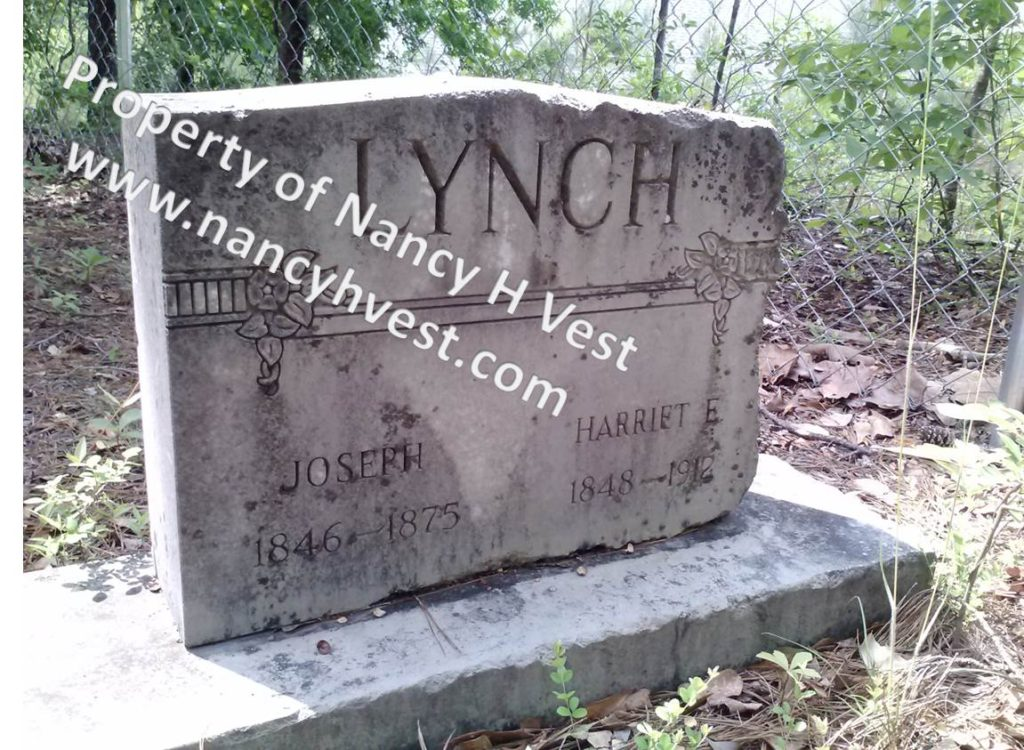 Photo of gravestone of Joseph and Harriet Lynch. LYNCH on the top of this upright stone; Joseph's info below on left; Harriet's info below on right.