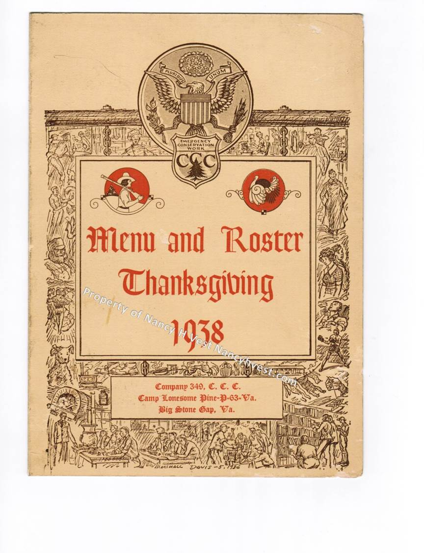 Photo of a two colored (brown and red) menu and roster cover with ornate lettering and hand drawn scenes on the boarder.