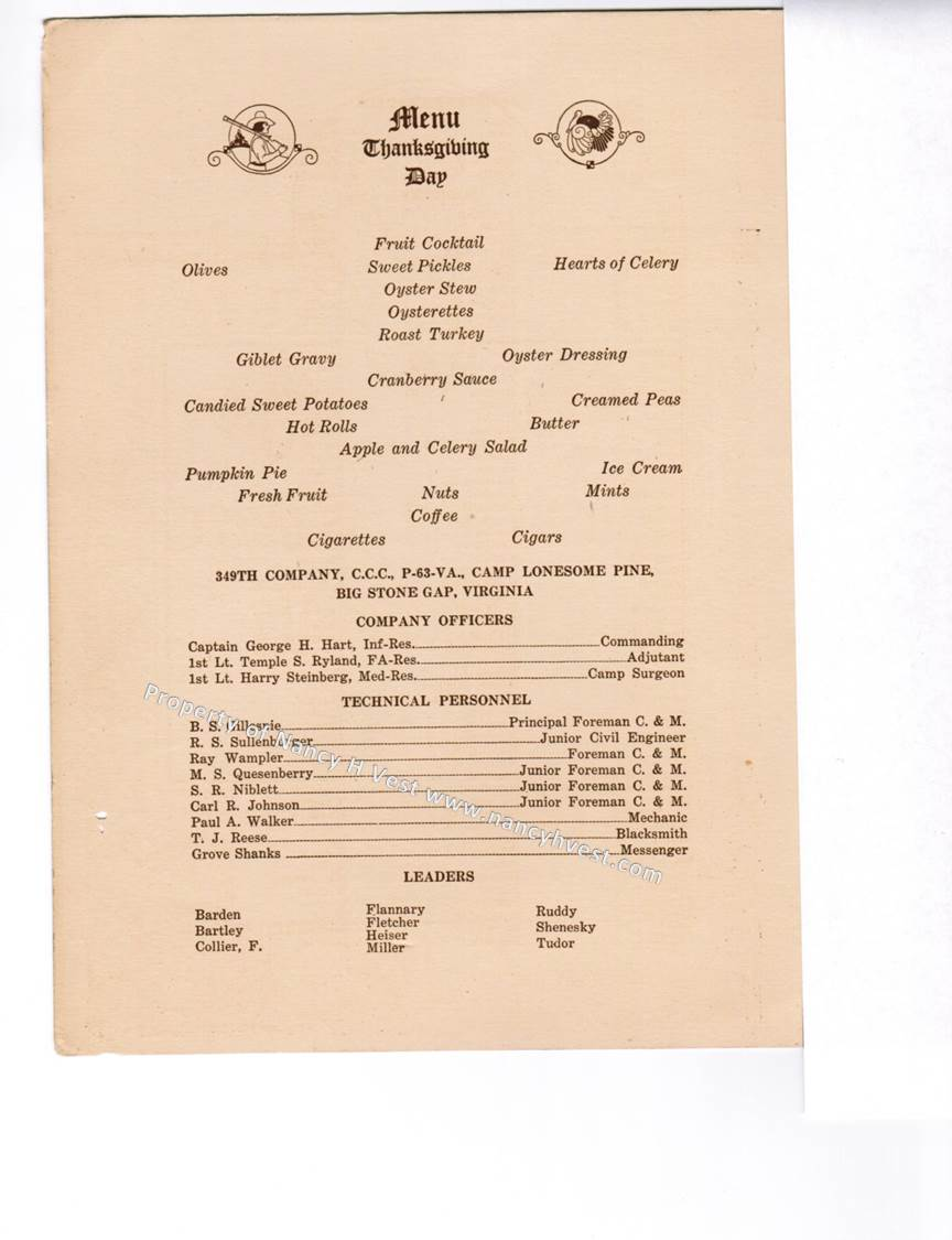 Photo of the left interior of the menu and roster that gives the menu for the meal and the start of the list of members.