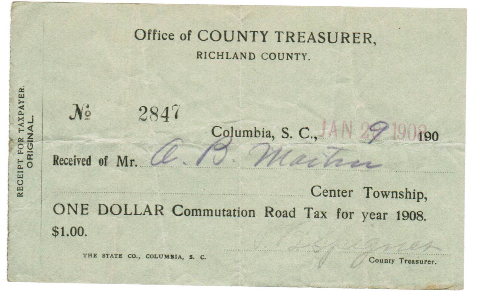 January 1908 receipt of tax payment show name of payee and signature of Treasurer. Receipt paper is pale green. Printed portion of receipt is in black. Handwritten portion appears to have been a blue or blue-black fountain pen ink.