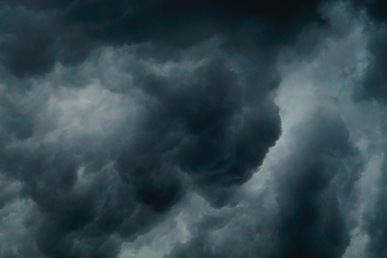 Color photo of threatening dark clouds