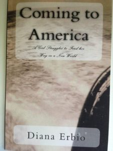 Color photo of the cover of Coming to America: a girl struggles to find her way in a new world. Cover shows rough seas from the side of a ship a shadow of the ship's edge again the rough seas.