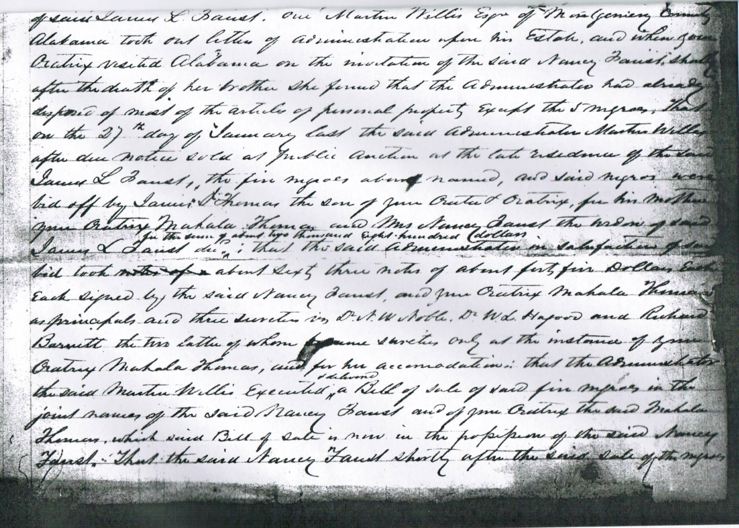 B&W scan of a small, handwritten document