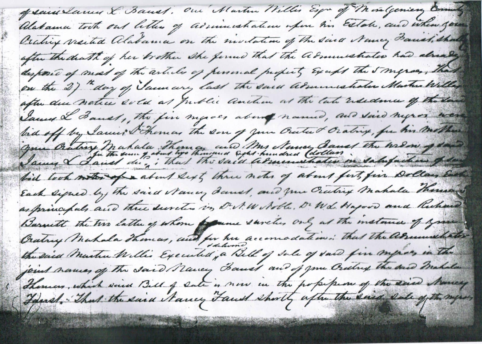 B&W scan of a small, handwritten document