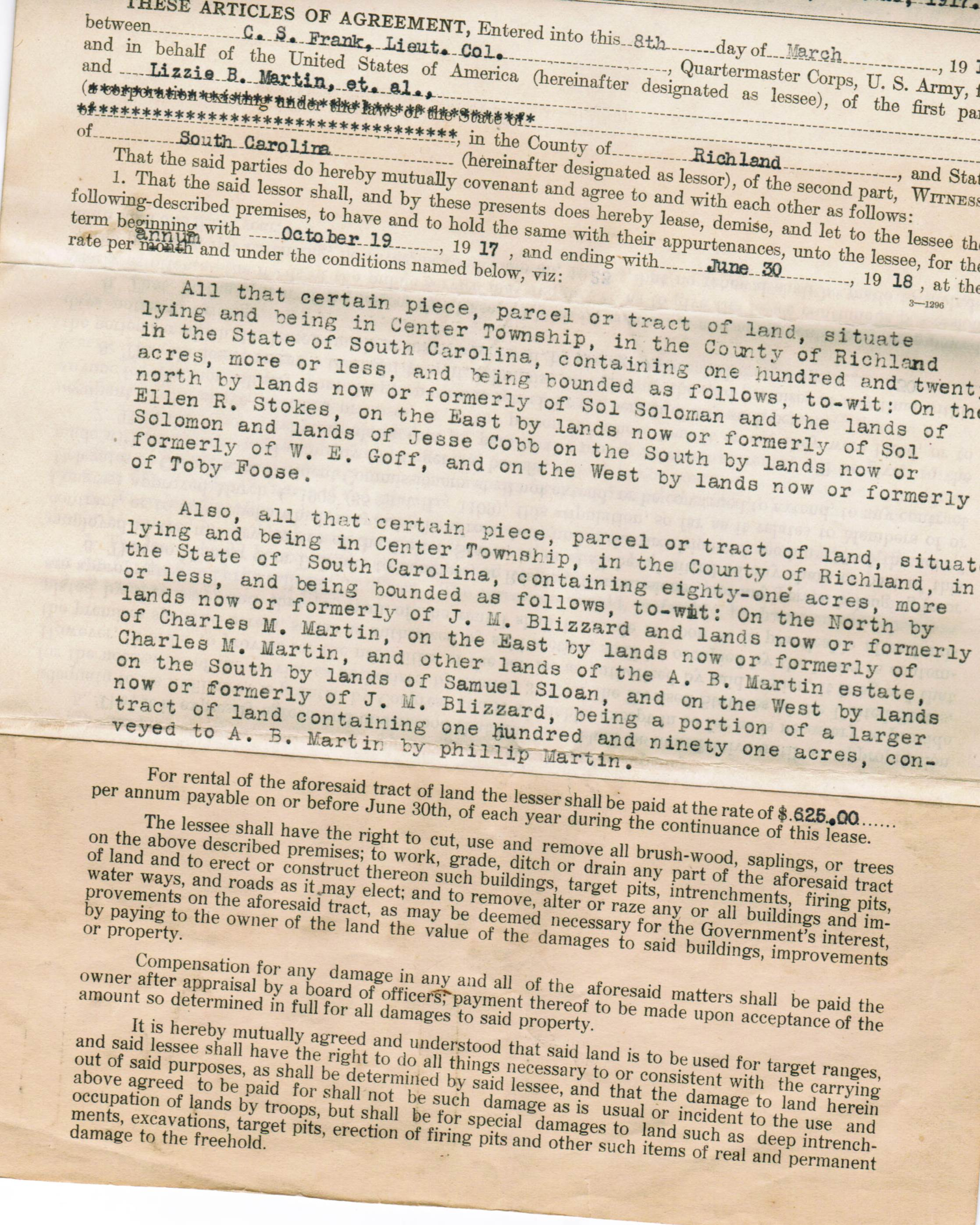 Scan of a portion of a page. Part is a form, and part of it is typed. The paper is yellowed with age.