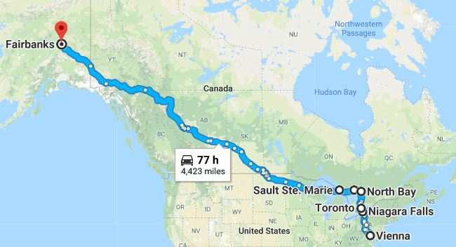Google map showing a route from Vienna, VA to Fairbanks, AK. The known towns they visited are noted on the map.
