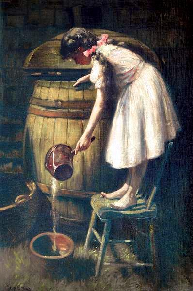 Painting of a girl with long dark hair in pigtails and wearing a white dress; she stands on a wooden chair and is pouring water from a large barrel into a pot, using a red metal dipper to do so.