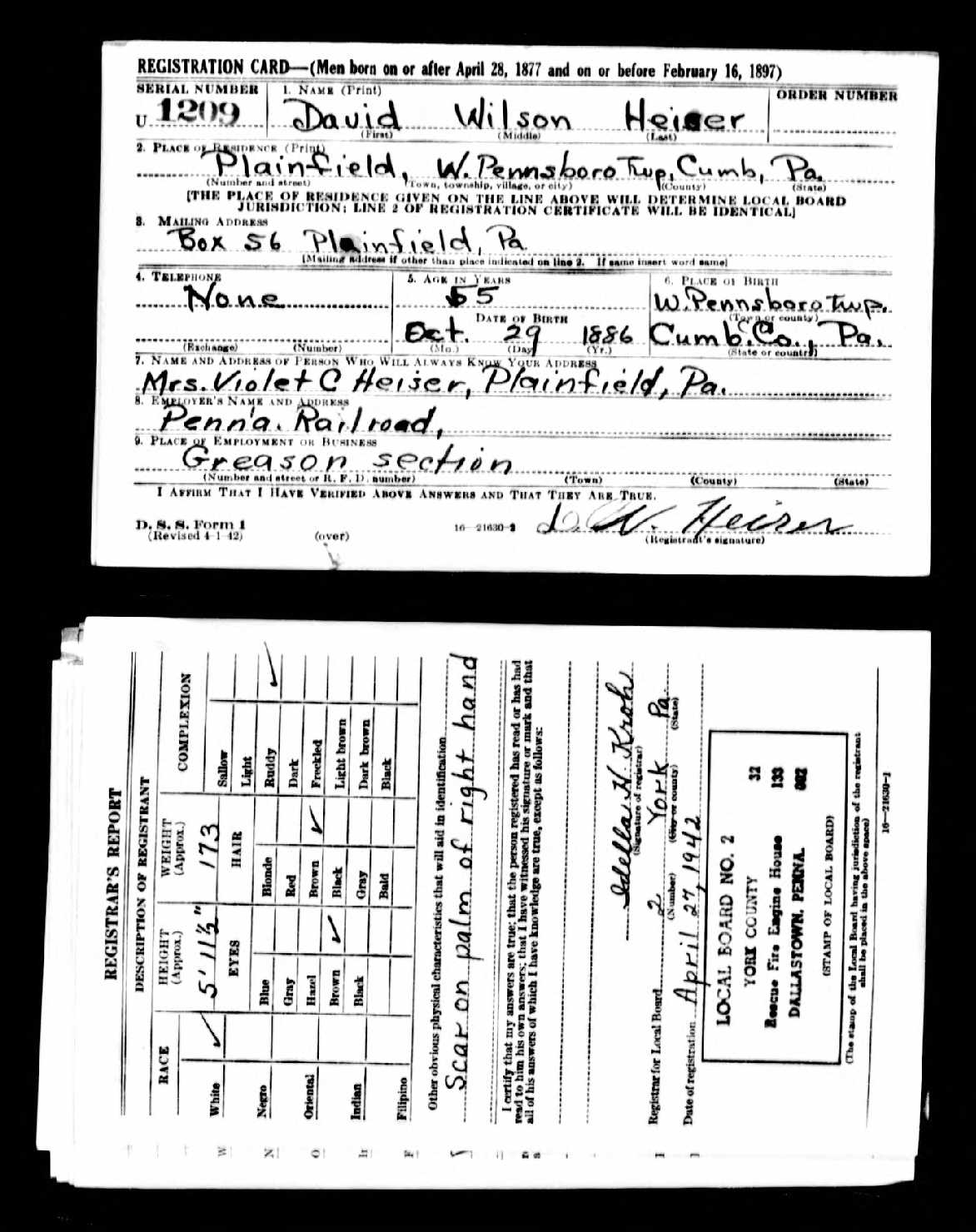 B&W scan of completed WW2 draft registration cards.
