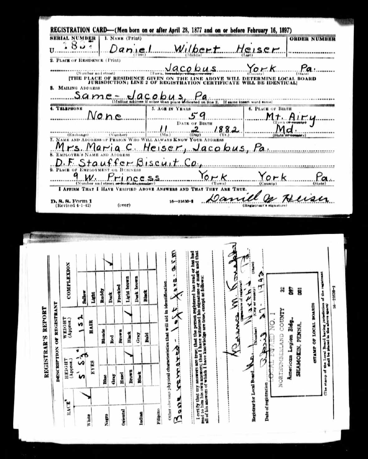 B&W scan of completed WW2 draft registration forms.