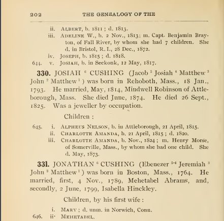 a page from The Genealogy of the Cushing Family by James S. Cushing that shows the union of Jonathan and Mehetabel and their two daughters. Joseph is not listed.
