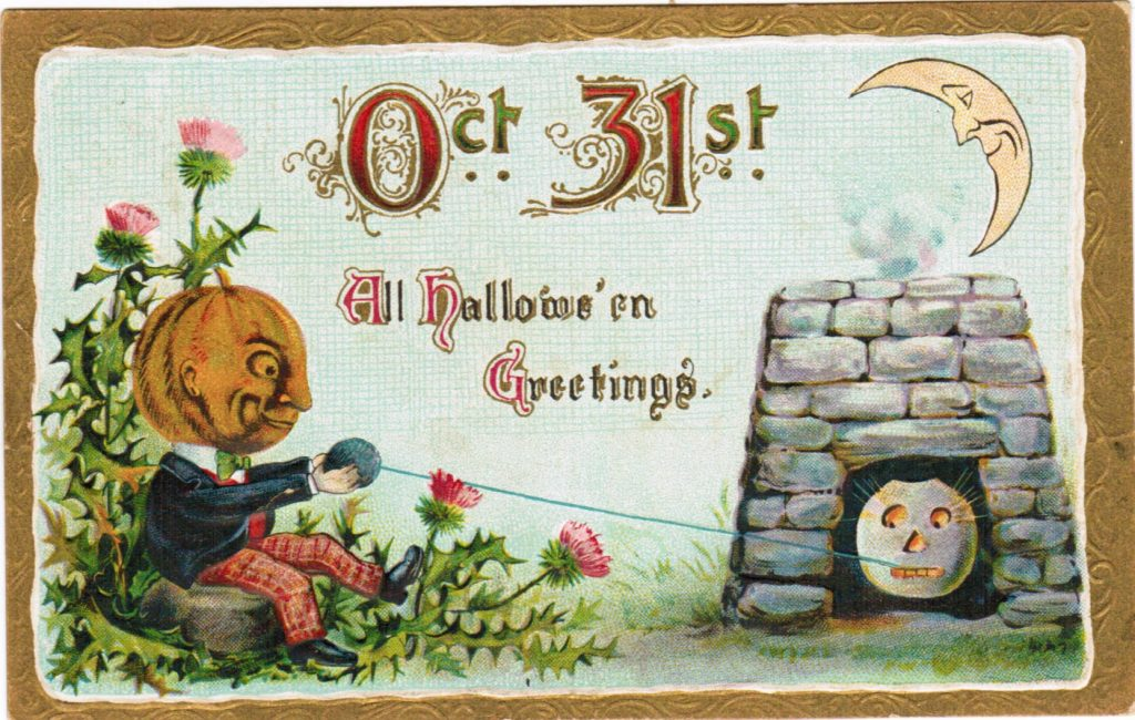 Color post card of a jack-o-lantern man holding a ball of yarn with a string from the yarn attached to the tooth of jack-o-lantern sitting in an outdoor open furnace. The one in the furnace looks alarmed.