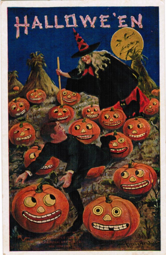 Color post card of a witch chasing a boy through a field filled with jack-o-lanterns. The jack-o-lanterns have a variety of faces, from scared to amused. The boy looked terrified.