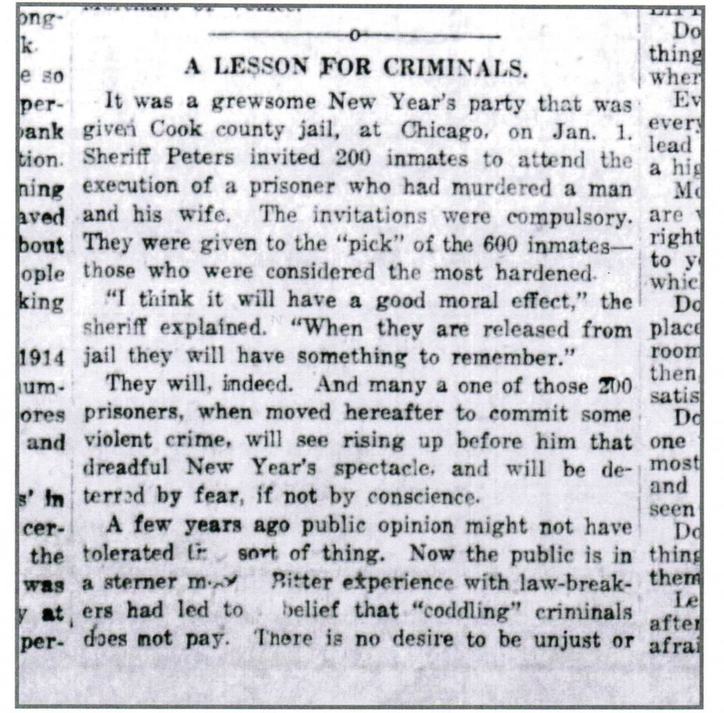 Image of article about this hanging party for which inmates at the Cook County jail were forced to watch.
