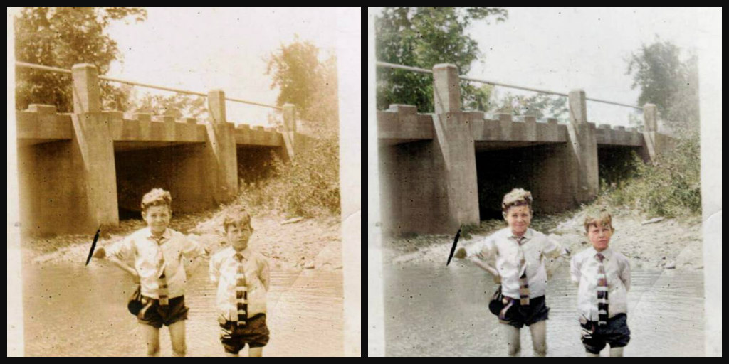 B&W and Color comparison of photo of two boys in a creek. Both boys wearing white shirt, striped tie, and dark pants rolled up above the knee.