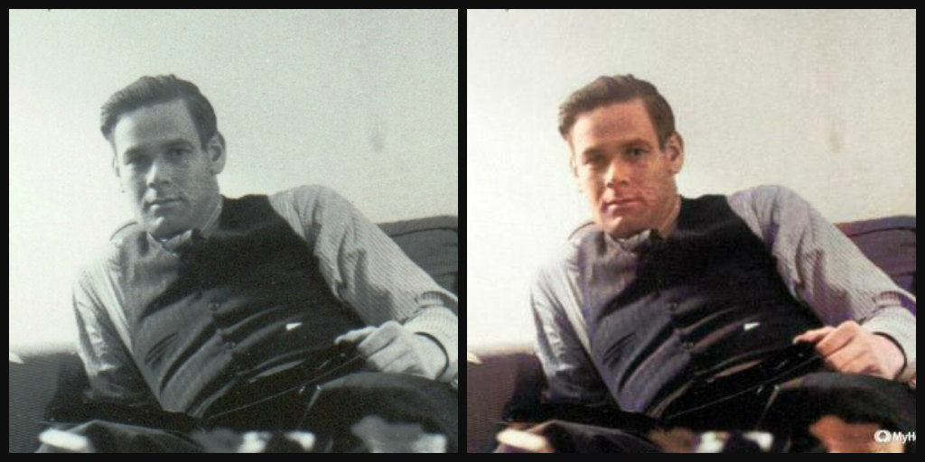 B&W and Color comparison of a man in his 20's. Medium brown hair, clean-shaven, wearing grey shirt and dark button-up vest, and dark pants.