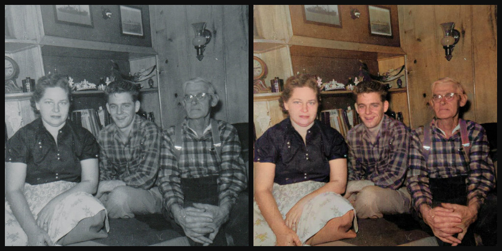 B&W and Color comparison. Both photos have a 40-ish year old woman wearing a dark shirt and light skirt, young man with dark hair and clean shaven wearing a plaid shirt and white pants, elderly man with white hair and clean shaven wearing a plaid shirt, glasses, suspenders, and dark pants.