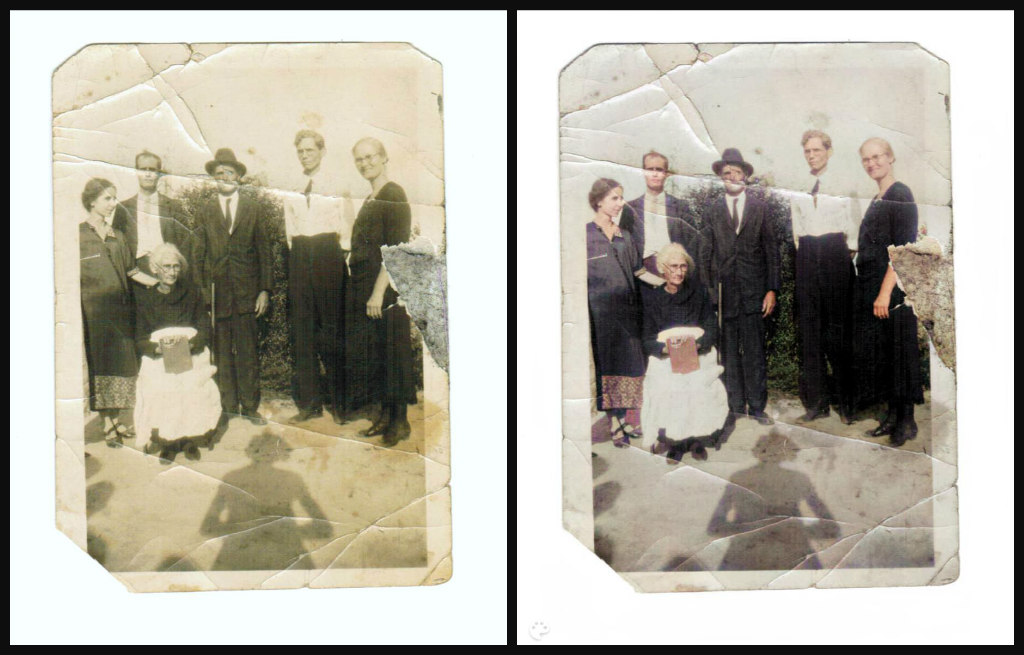 B&W and Color comparison of a seated elderly woman with 5 of her grown children standing around her. She is wearing a black shirt and black shoes, a white shirt. She had white hair and glasses. The children are all wearing either black or black and white apparel. One man wears a hat, also.