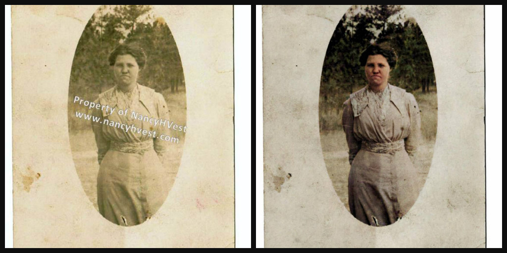 B&W and Color comparison of a young woman around 1914 wearing an off-white dress gathered at the waist. Her hair is dark brown and pulled back into a loose bun.