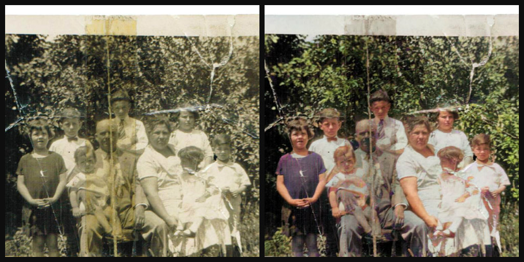 B&W and Color comparison of a family around 1929. Father and mother seated. Father wearing a grey suit, white shirt, and striped tie. He is bald. Mother wearing white dress with dark hair pulled back into a loose bun. Each parent has a child in their lap. Five other children are around them in this photo.