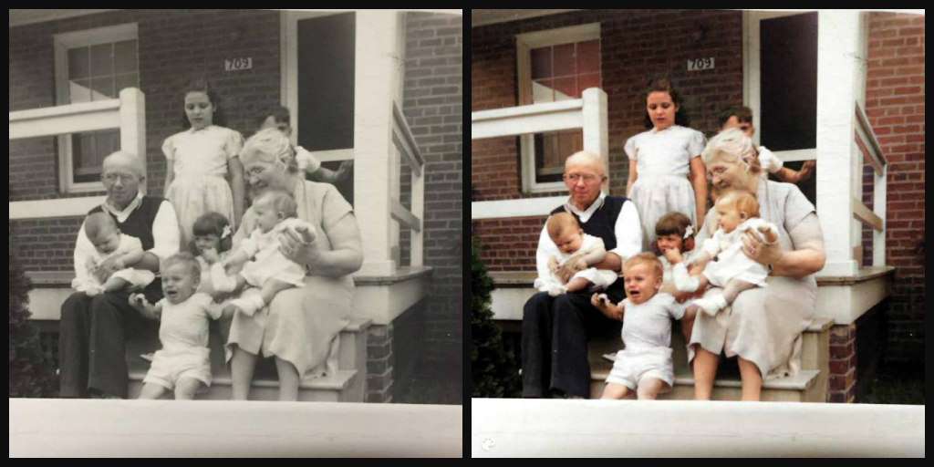 B&W and Color comparison of grandparents and 6 of their grandchildren. Grandparents sitting on steps at front of house and each holding a baby. Two children stand on steps behind. One child between the grandparents, and one child in front of that child.