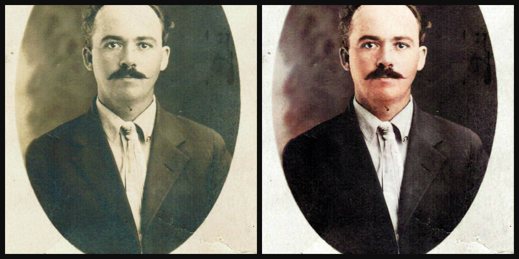 B&W and Color comparison of a man in his 20's taken in the 1910's. He has dark hair and is balding, also a dark mustache. Wearing a white shirt and tie and a dark brown suit coat.