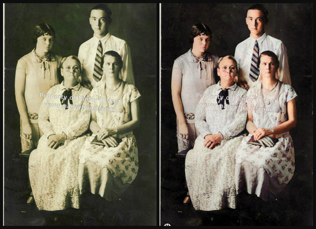 B&W and Color comparison of a middle aged woman and 3 of her grown children. She is wearing a white dress and a black tie . Both daughters are wearing white dresses with modest colored  print on them. Son is wearing a white shirt and striped tie. All children have dark hair.