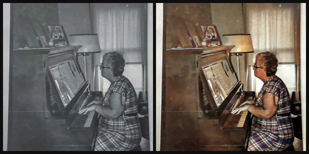 B&W and Color comparison of elderly woman playing an upright piano. She is wearing a plaid dress, and she has short graying hair and dark-rimmed glasses.
