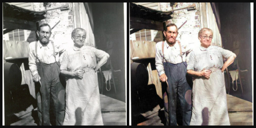 B&W and Color comparison of elderly couple outside a house with an open door. He is stooped and using a cane, wearing dark pants and a white shirt. He has dark hair and a dark beard and mustache. She is wearing an off-white dress and skirt. Her hair is white, and she is wearing glasses.