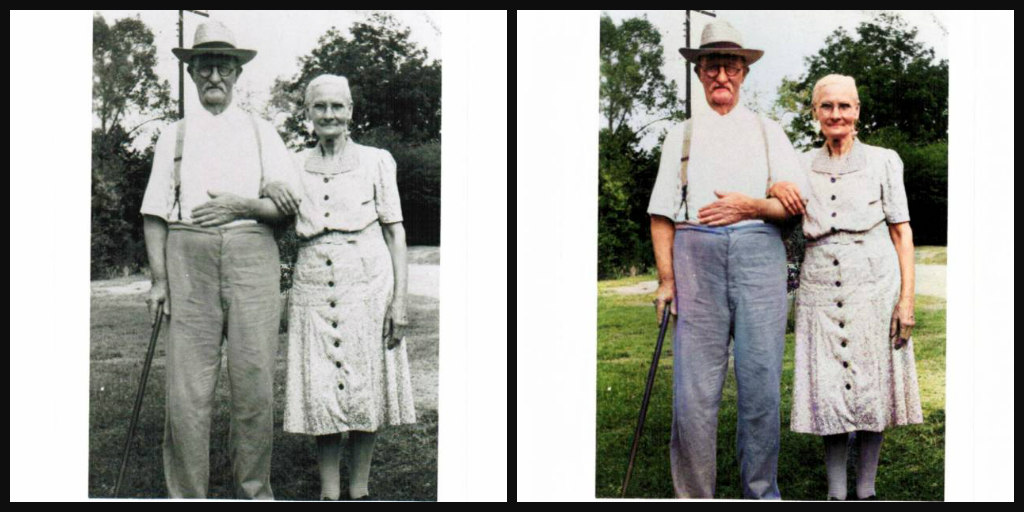 B&W and Color comparison of an elderly couple standing side-by-side. He is wearing a white shirt, blue pants, suspenders, glasses,and a white hat. He has a mustache. She is wearing an off-white mid-calf dress with dark buttons the length of the dress. She has white hair pulled back.