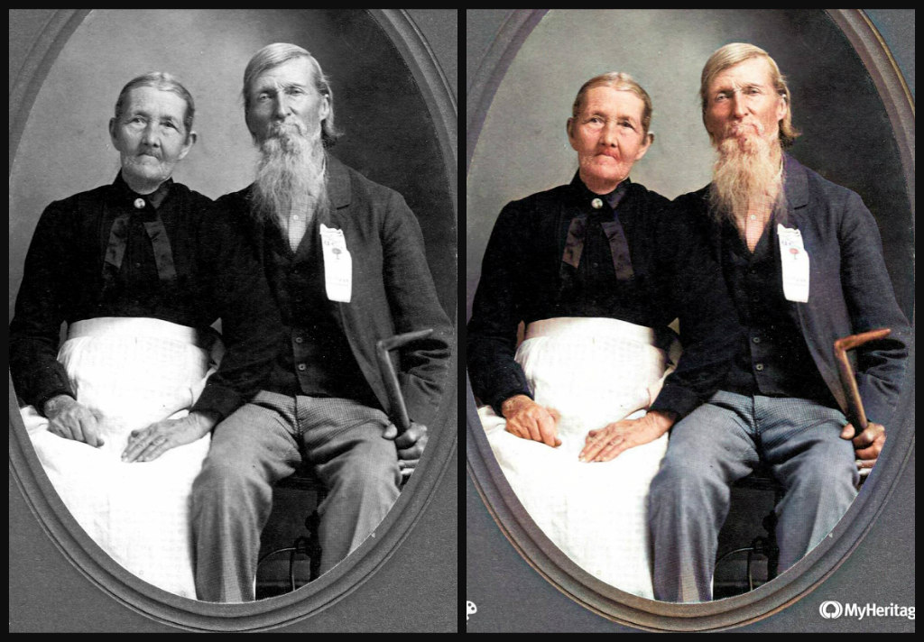 B&W and Color comparison o an elderly couple sitting down. She is wearing a black shirt and white shirt. Gray hair pulled back. He is wearing light blue pants, a dark black vest, a dark grey suit coat, a pale shirt and tie. He has nearly shoulder length grey or blonde hair, mustache and long beard same color. He is holding a cane and wearing a Confederate ribbon on his coat.