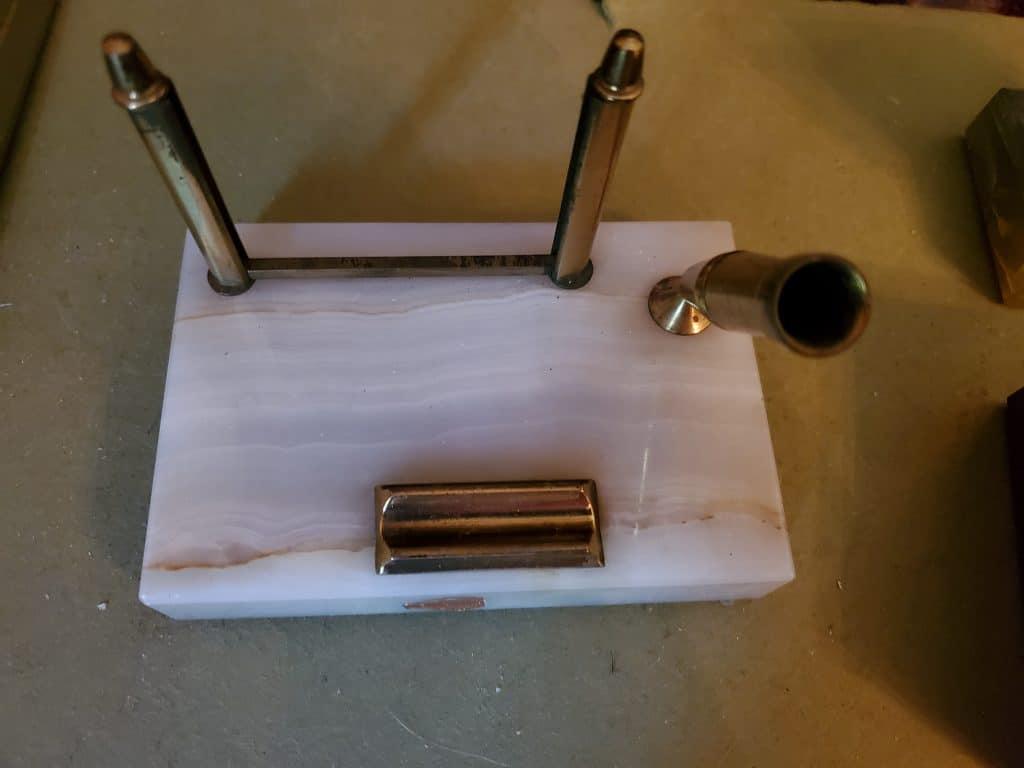 white marble vintage pen holder