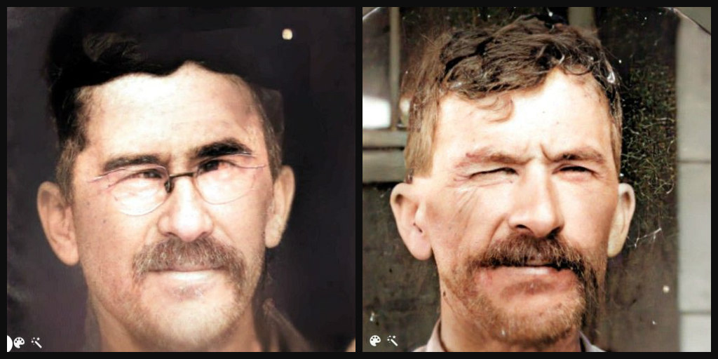 Side by side photos of a middle aged man with a mustache and dark curly hair.