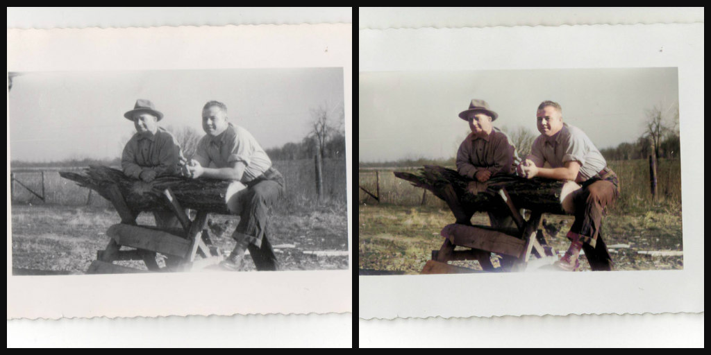 Side by side photo comparison of B&W and color version of same photo. Two man leaning on a piece of log cutting equipment.