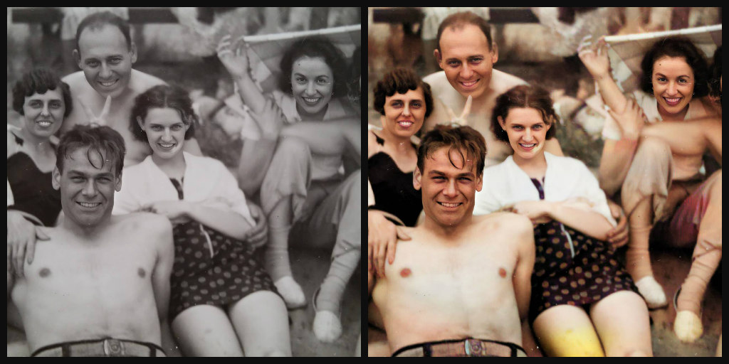 Comparison of black and white and color version of same photo. Group of 5 smiling people on a beach outing.