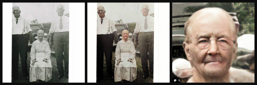 Three photo spread. First two are B&W vs. color photos of 3 elderly people. Two men standing. A woman sitting. Third photo is a closeup of the woman.
